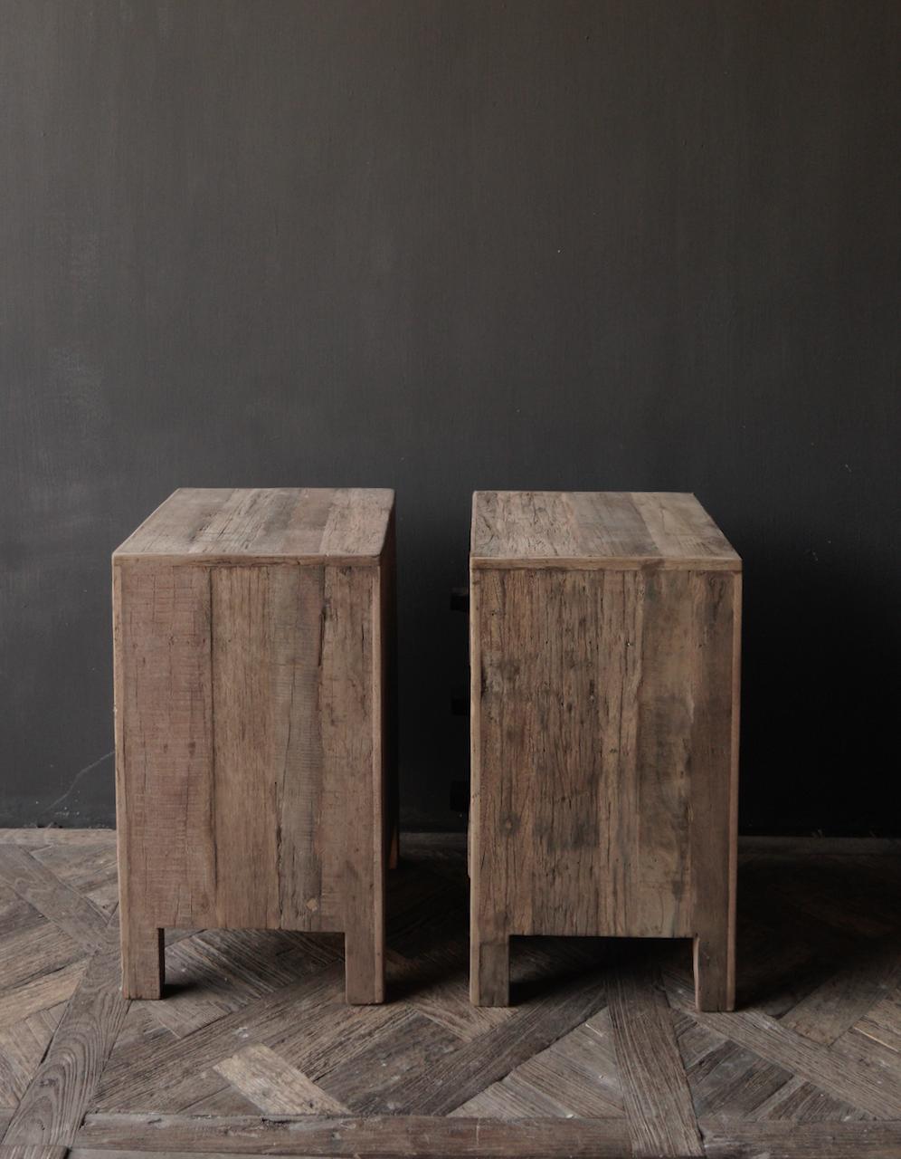 Oud driftwood houten kastje   oftewel nachtkastje met lades-6
