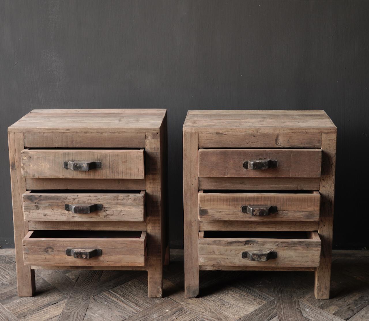 Oud driftwood houten kastje   oftewel nachtkastje met lades-8