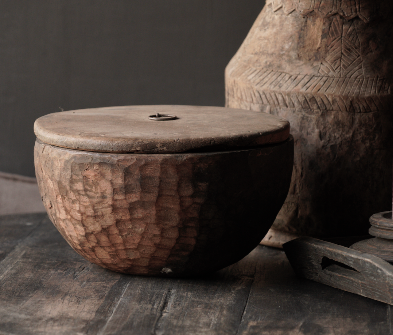 Old Authentic wooden bowl with lid-5