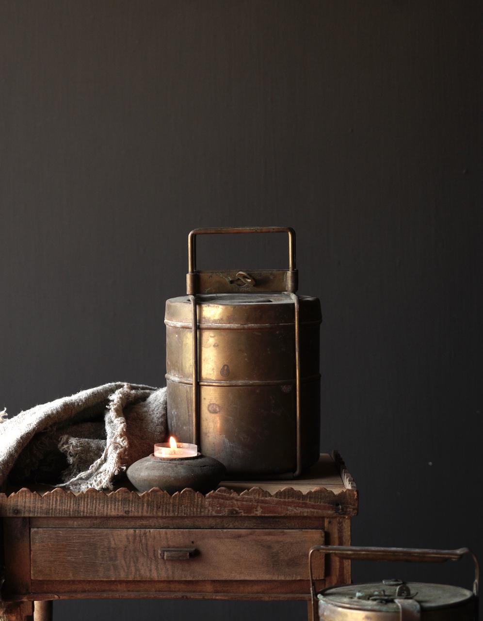 Antike indische Brotdose aus Kupfer-2