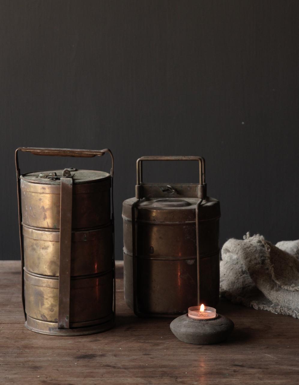 Antike indische Brotdose aus Kupfer-5