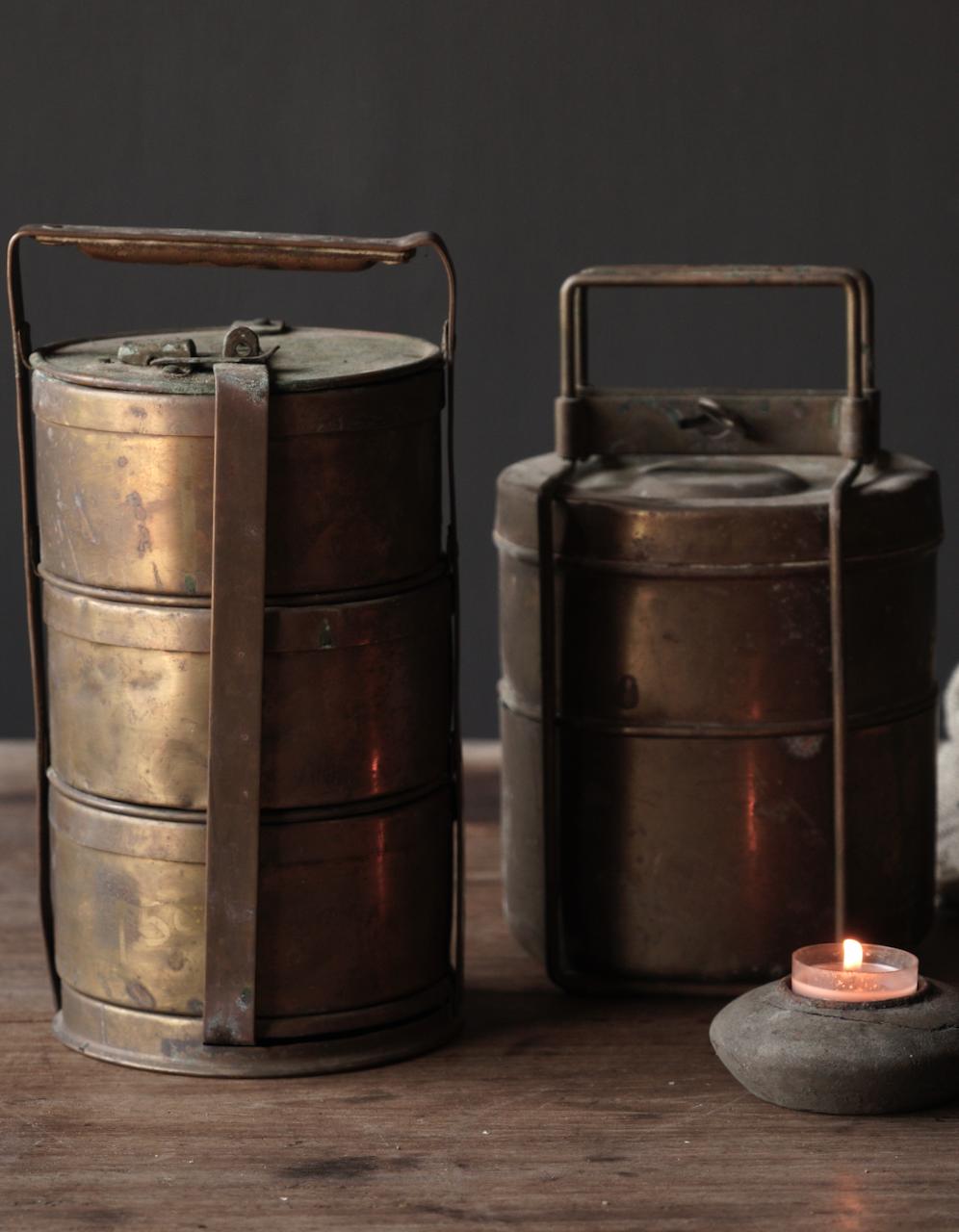 Antike indische Brotdose aus Kupfer-6