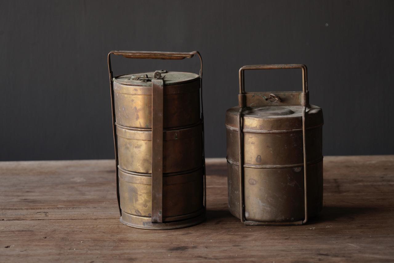 Antike indische Brotdose aus Kupfer-7