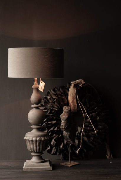 Wooden table lamp base in the color Mud