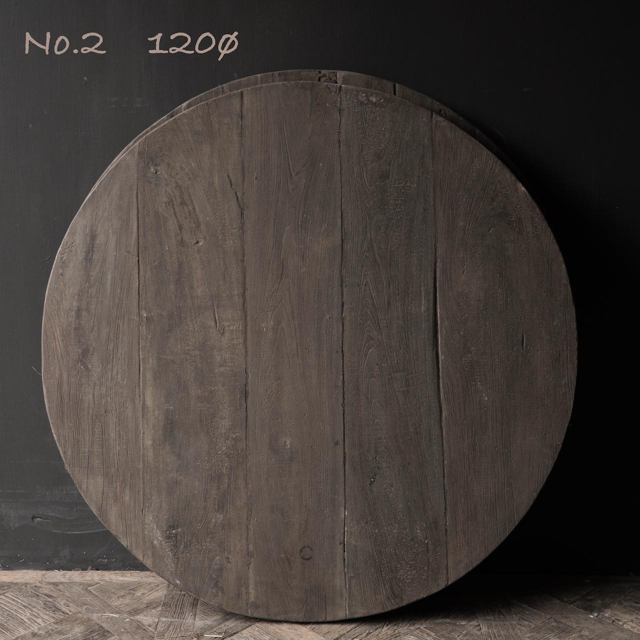 Robuster robuster runder dunkler Holztisch 120ø und 130ø-6