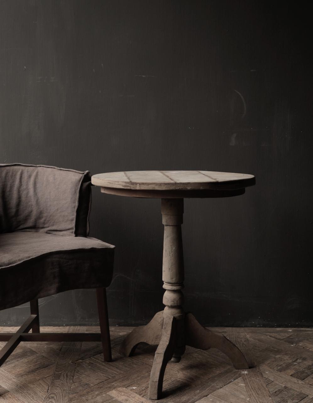 Robuster robuster runder Weintisch aus altem Altholz 60cm-3