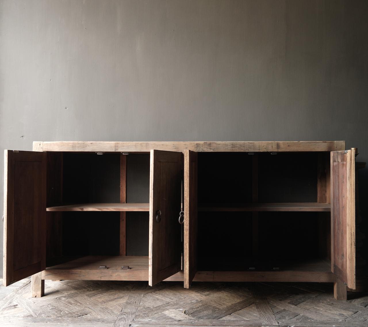 Prachtig  vergrijsd  Stoer  oud houten Dressoir met vier deurtjes-5