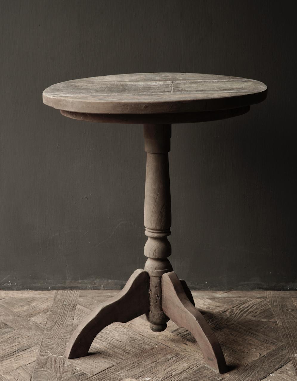 Robuster robuster runder Weintisch aus altem Altholz 60cm-4