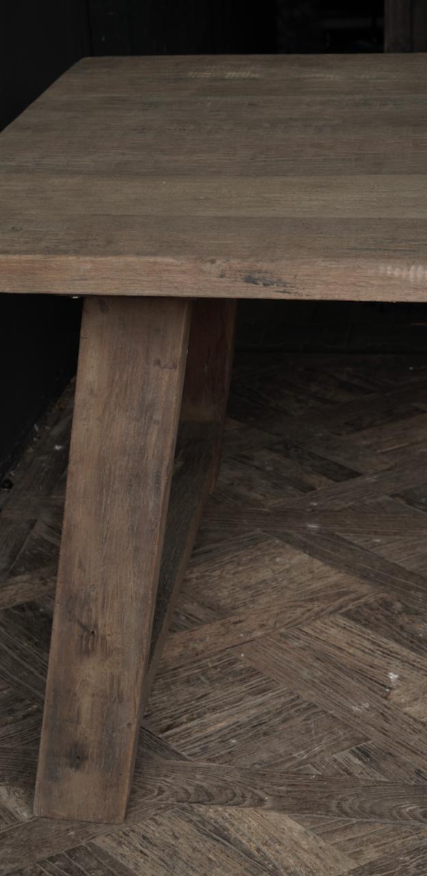 Robuster alter Esszimmertisch aus Holz mit A-Bein 240x100cm-3