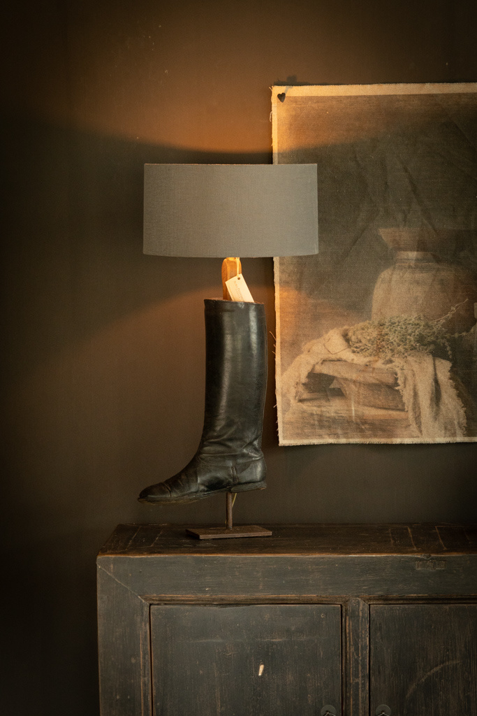 Old riding boots lamp base-2
