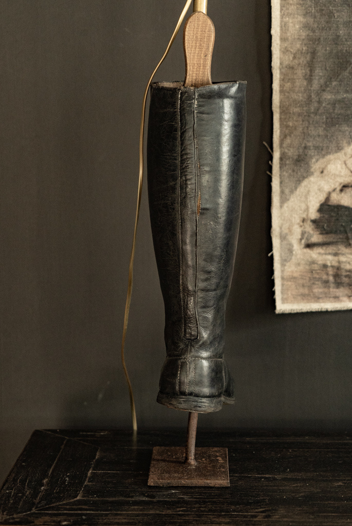 Old riding boots lamp base-5