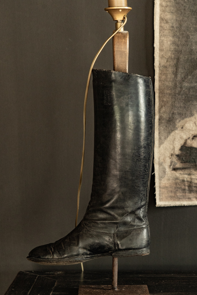 Old riding boots lamp base-6