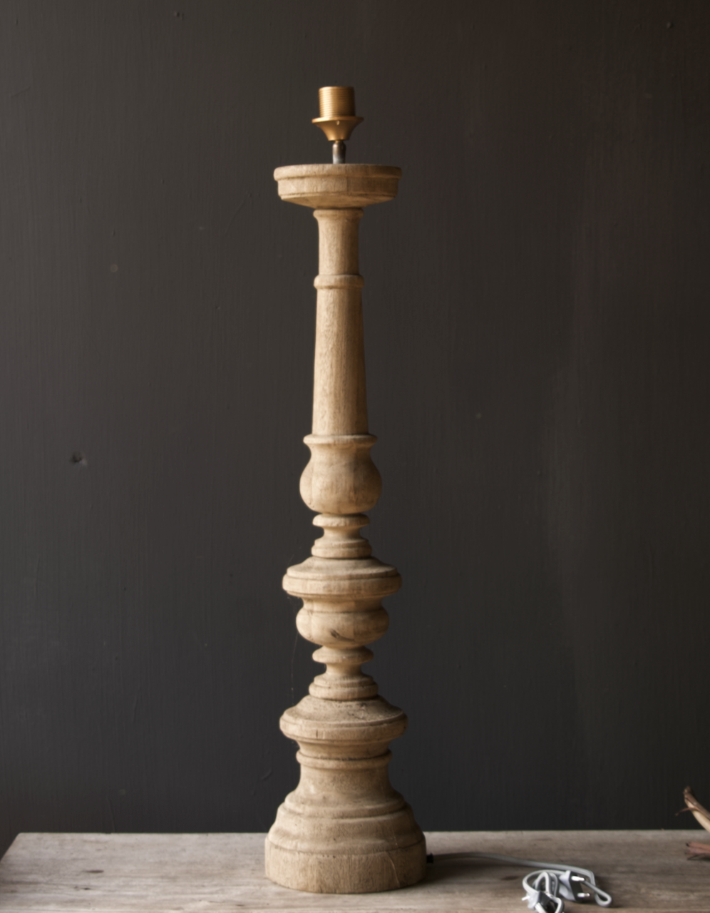 Eiken  Houten baluster lamp voet-2