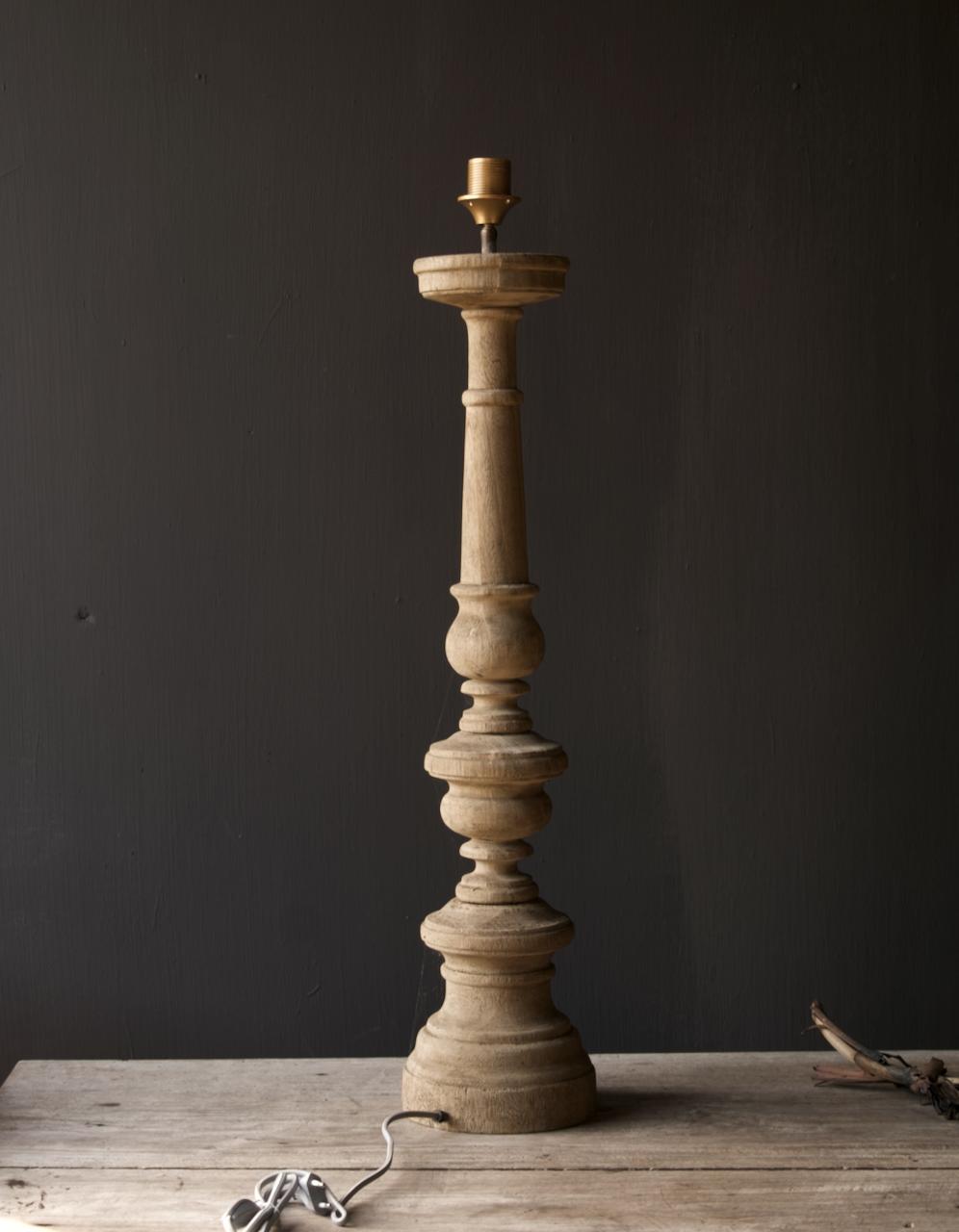 Eiken  Houten baluster lamp voet-5