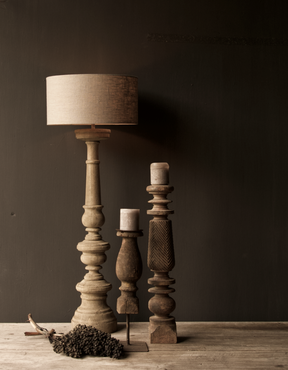 Eiken  Houten baluster lamp voet-1