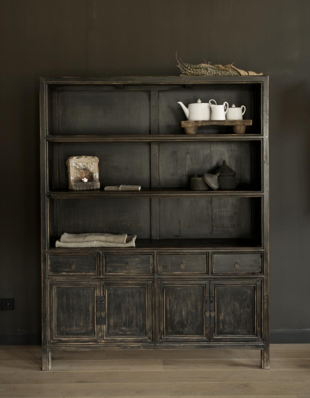 Einzigartiges schwarzes Vintage-Sideboard-1