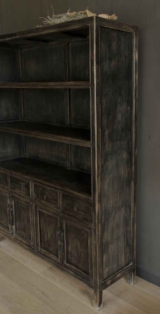 Einzigartiges schwarzes Vintage-Sideboard-5