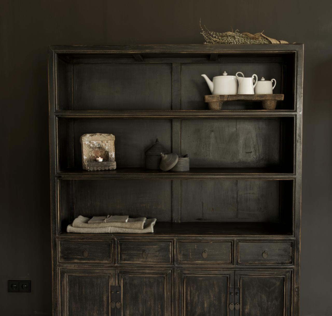 Einzigartiges schwarzes Vintage-Sideboard-3