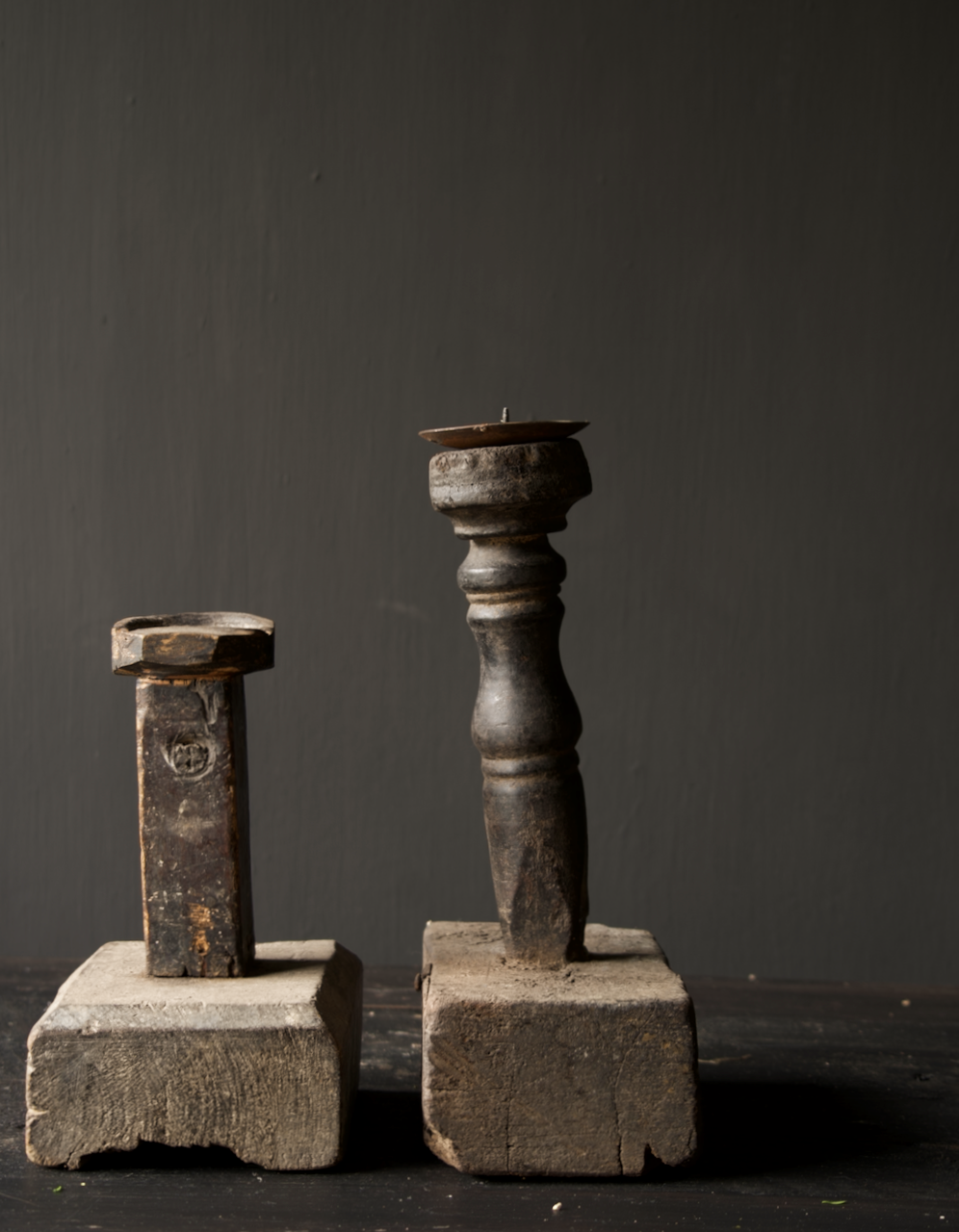 Tough old Wooden candlestick-3