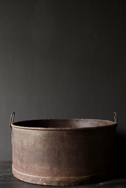Large round iron box rust