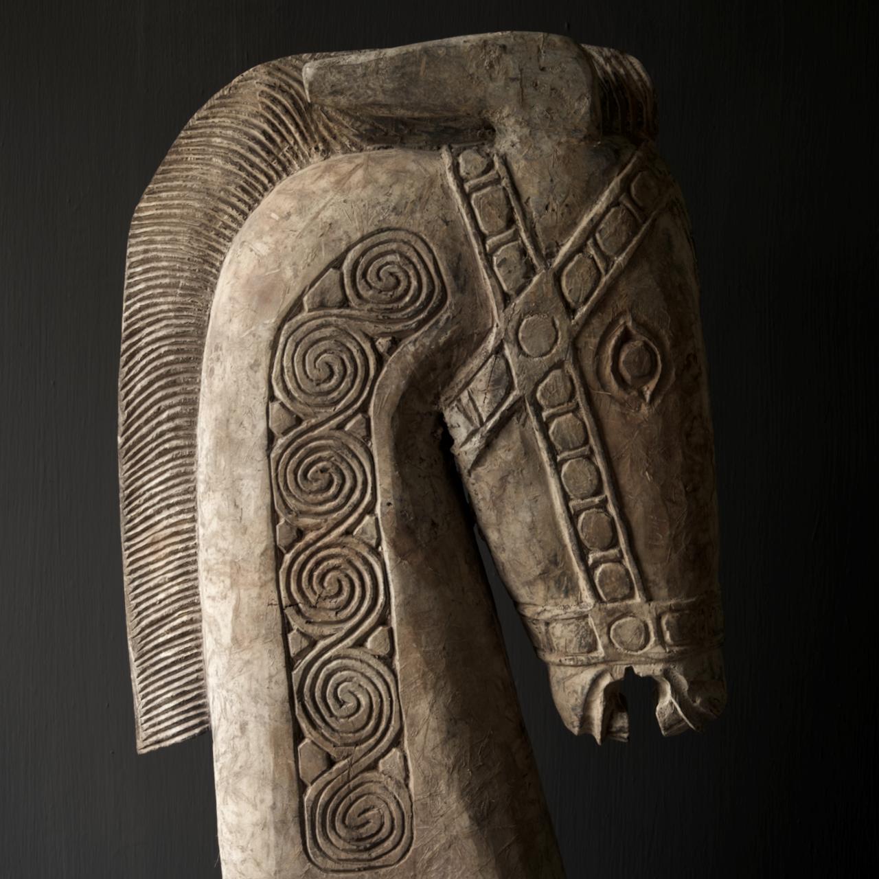 Prachtig Groot houten paarden hoofd op standaard  XXL-2