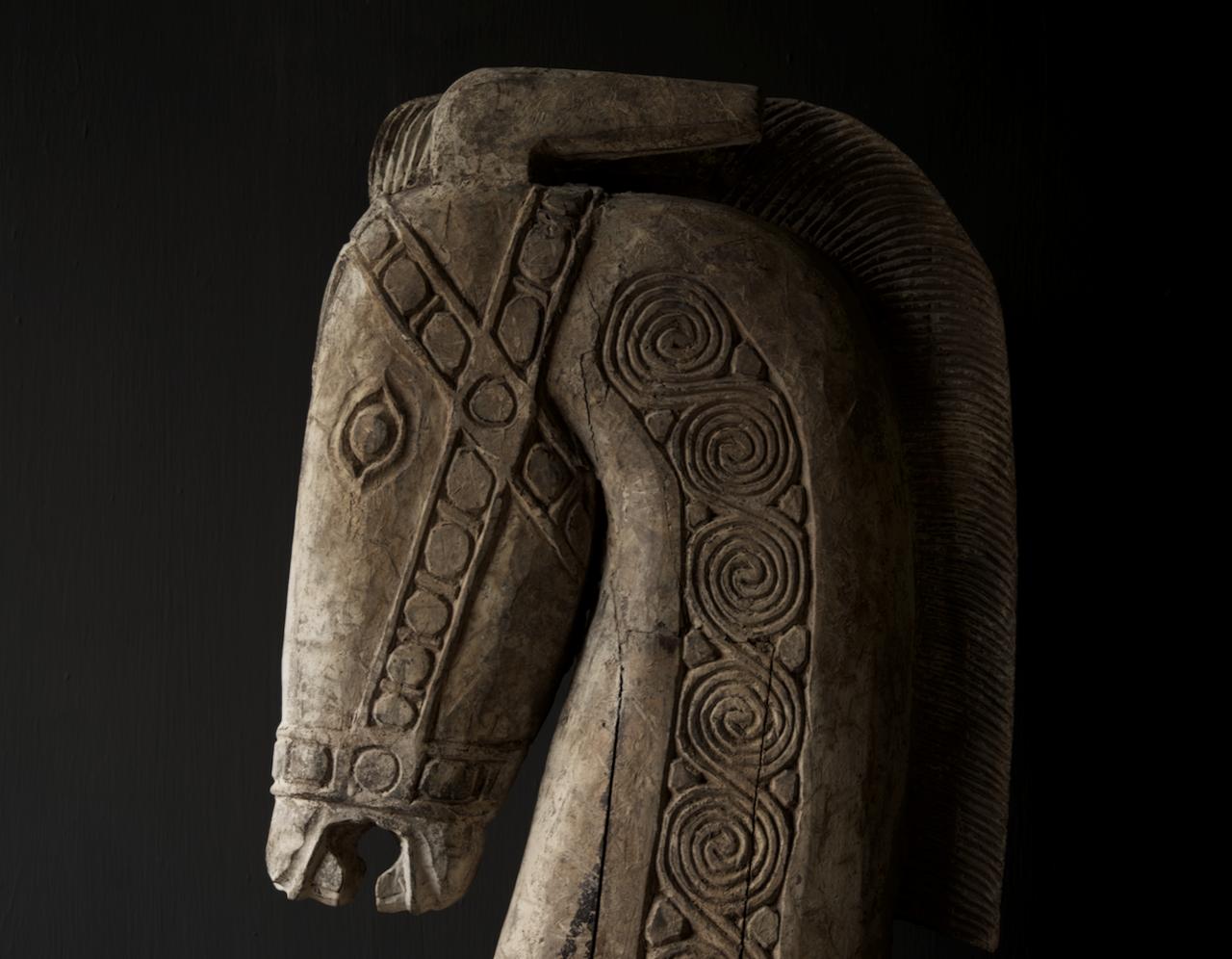 Prachtig Groot houten paarden hoofd op standaard  XXL-5