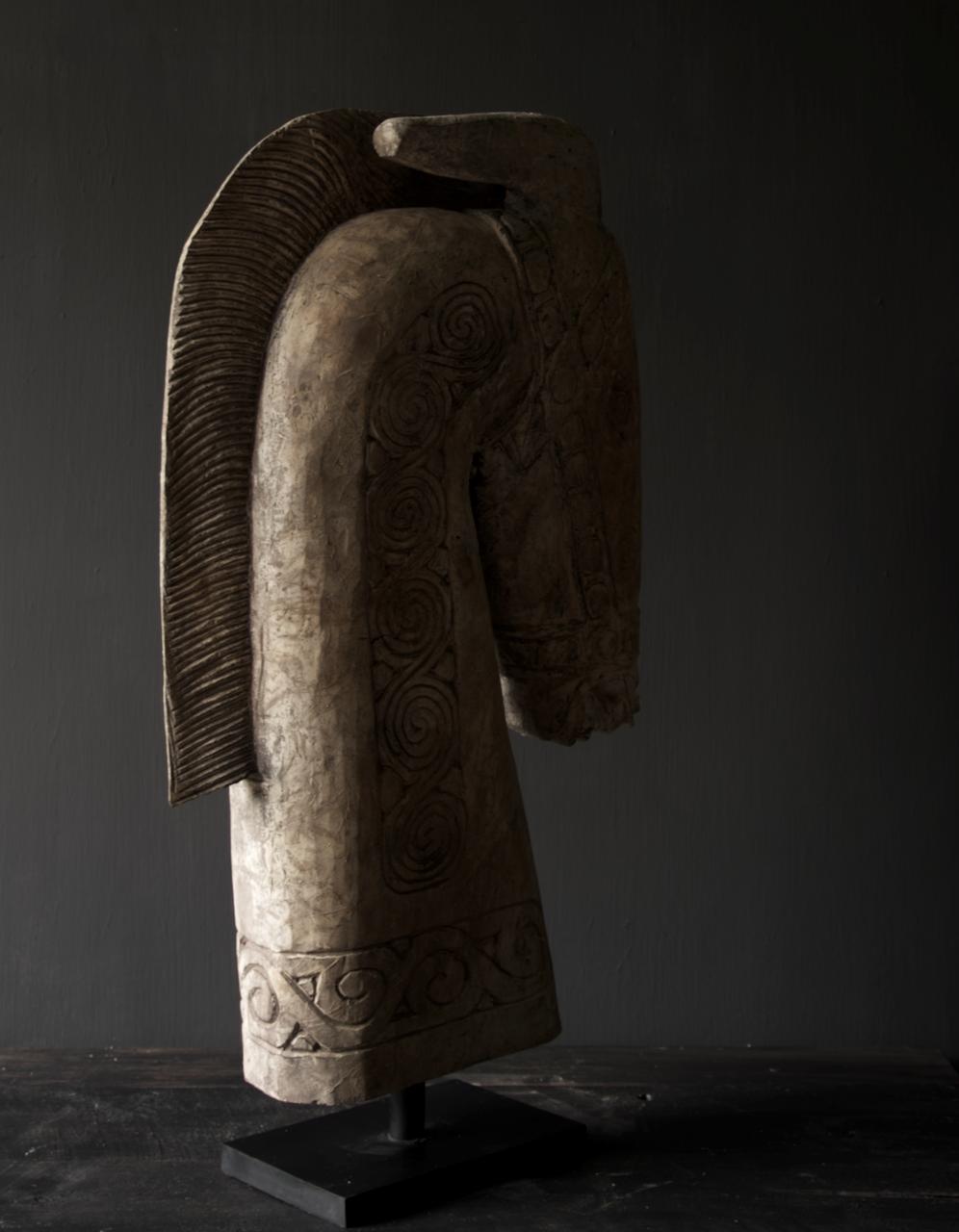 Prachtig Groot houten paarden hoofd op standaard  XXL-7