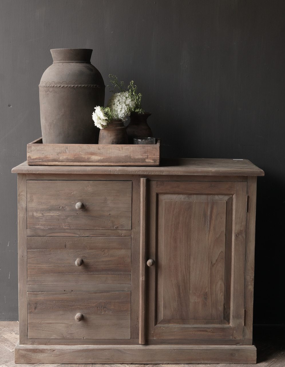Old wooden chest of drawers with a door Lieke-5