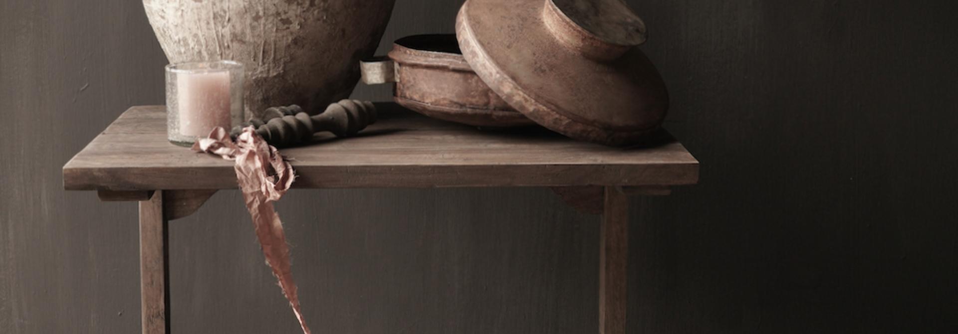 Muurtafel Side table  schrijftafel van oud hout