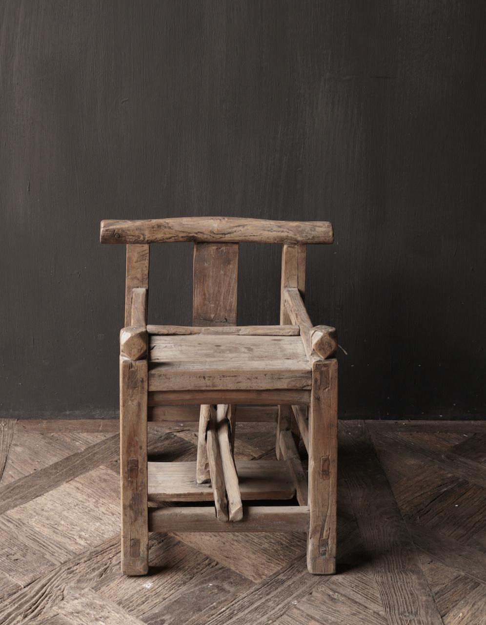 Uniek , Antiek Oud  Indisch houten kinderstoeltje-2