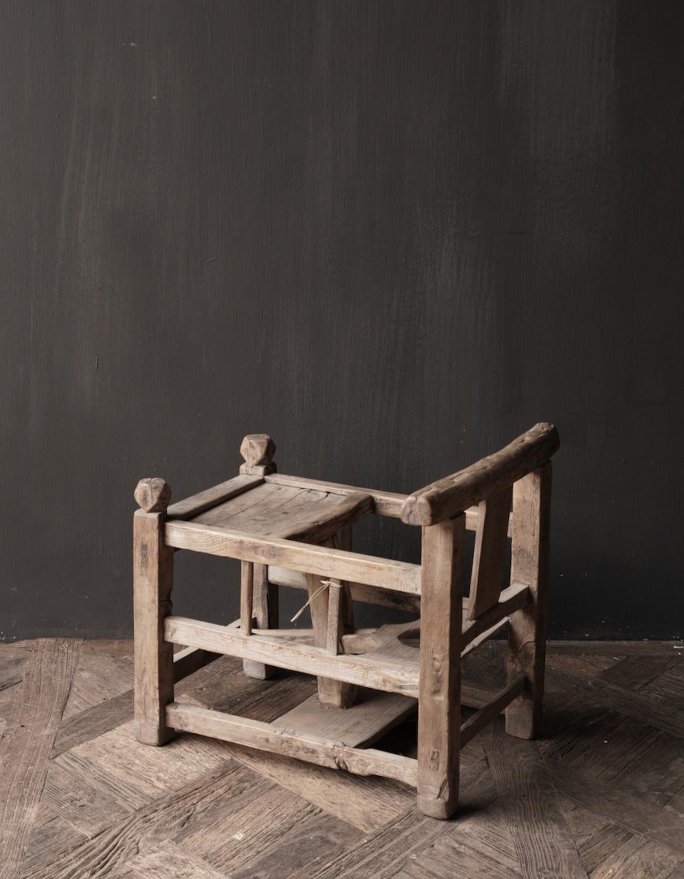 Uniek , Antiek Oud  Indisch houten kinderstoeltje-4