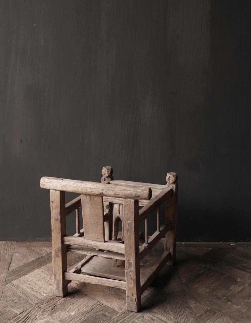 Uniek , Antiek Oud  Indisch houten kinderstoeltje-5