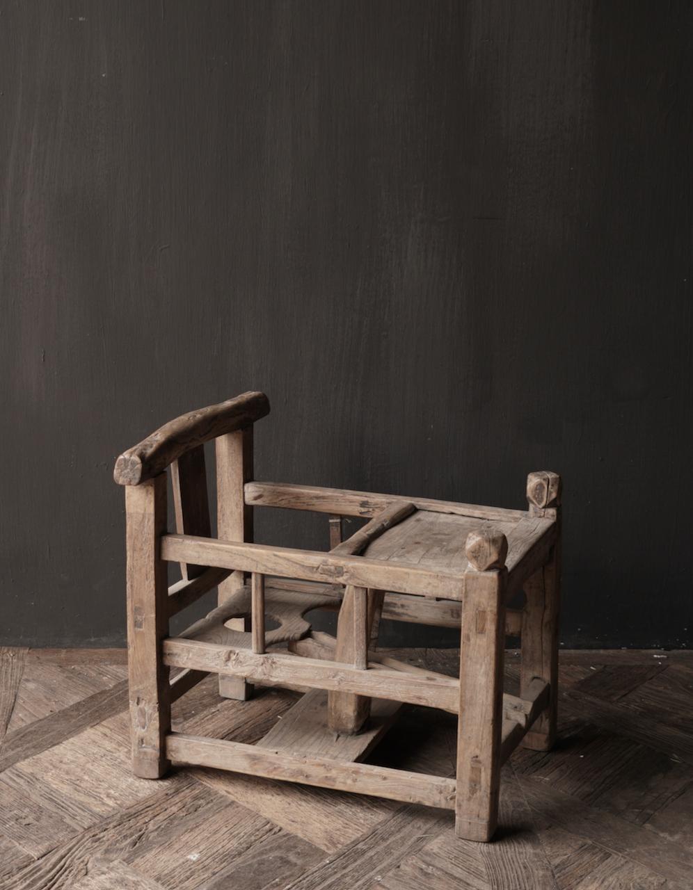 Uniek , Antiek Oud  Indisch houten kinderstoeltje-6
