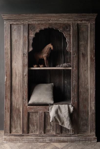 Tough Beautiful Unique old Indian open cupboard