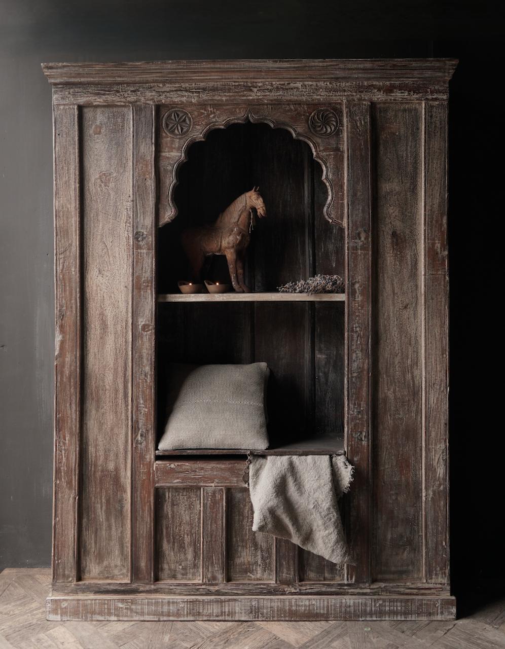 Tough Beautiful Unique old Indian open cupboard-1