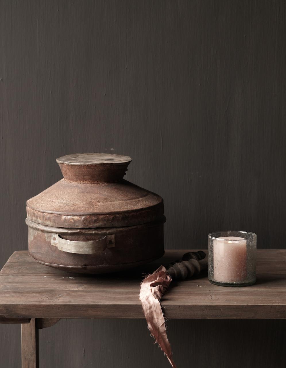 Authentieke  Nepalese ijzeren pot met deksel-4