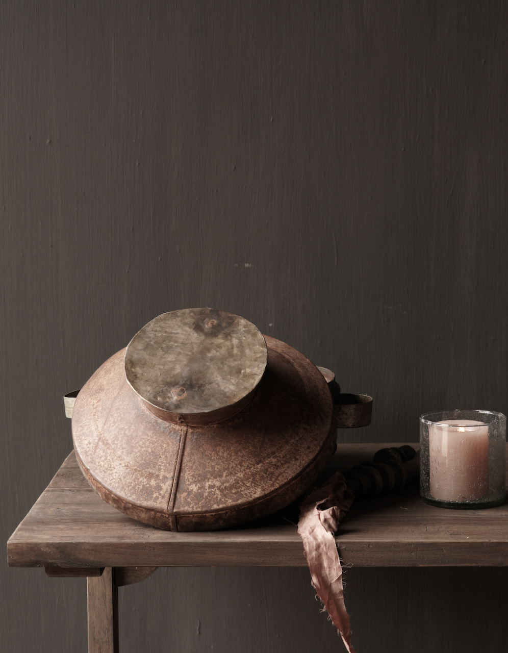 Authentieke  Nepalese ijzeren pot met deksel-6