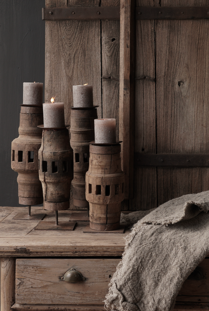 Old Wooden Wheel Hub Candlesticks