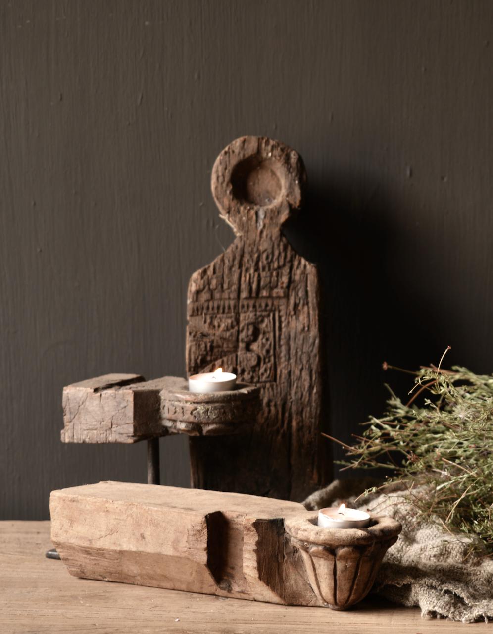 Uniek houten waxine houder van oud Ornament-1