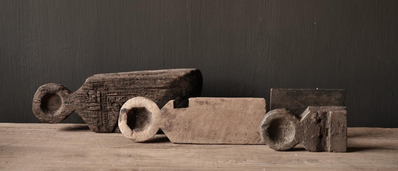 Uniek houten waxine houder van oud Ornament-2