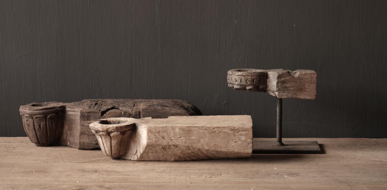 Uniek houten waxine houder van oud Ornament-3