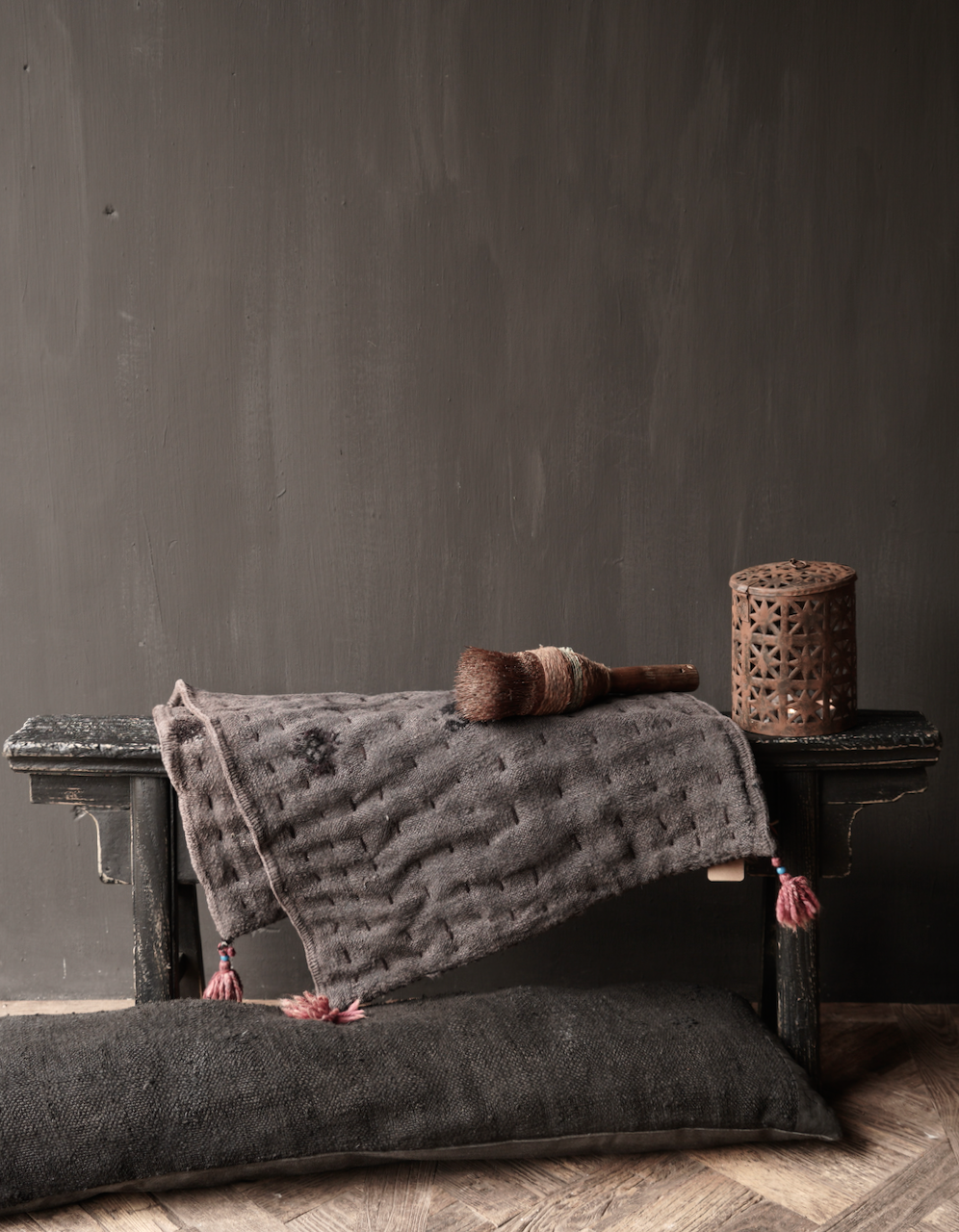 Black Authentic old wooden Bench-1