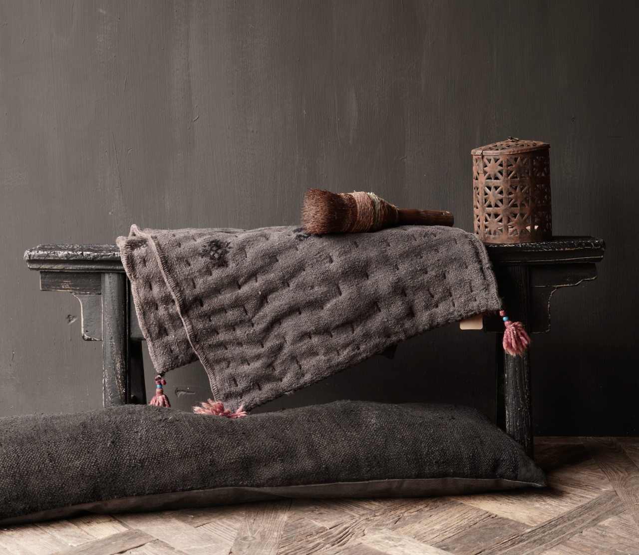 Black Authentic old wooden Bench-6