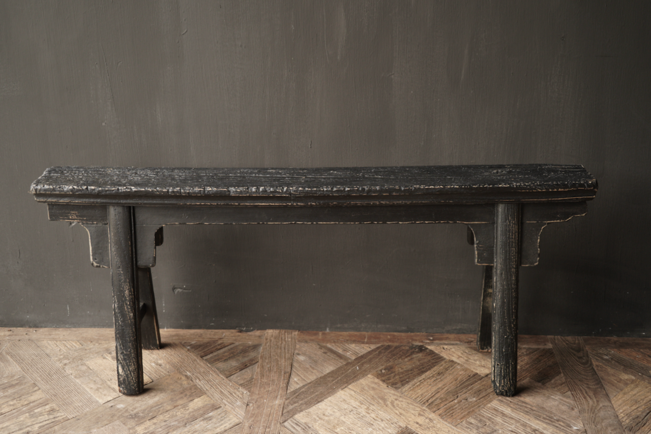 Black Authentic old wooden Bench-3