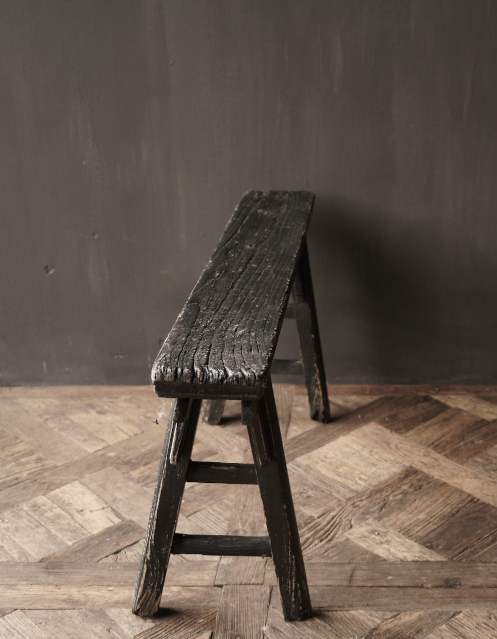 Black Authentic old wooden Bench-4