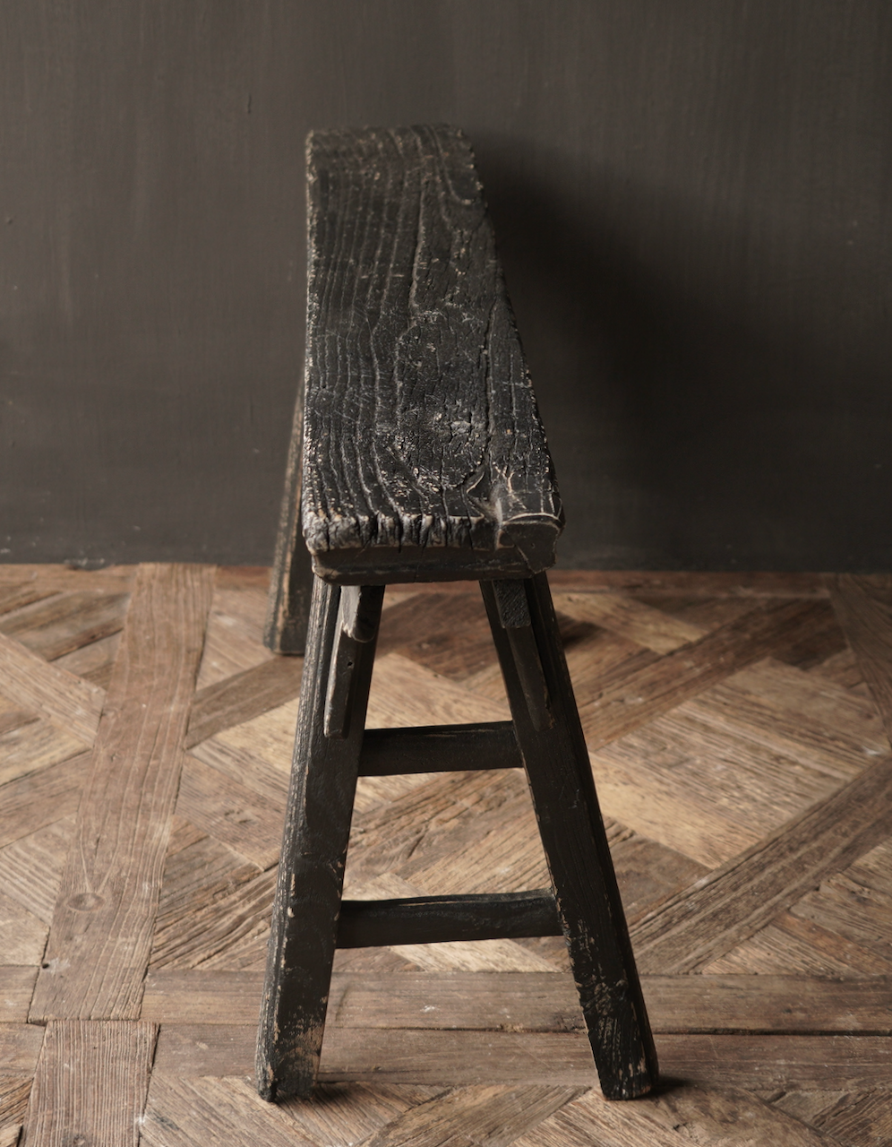 Black Authentic old wooden Bench-5
