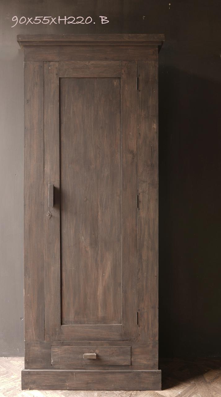 Prachtig , Stoer, Hoog donker Landelijk oud houten kast-6