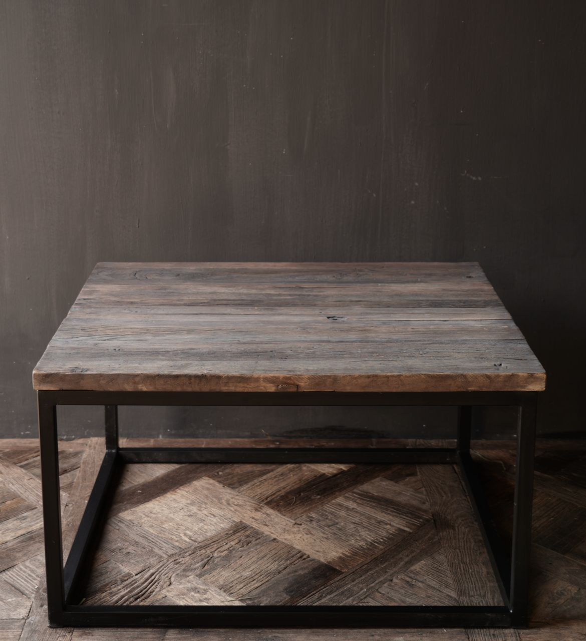 square coffee table made of old wood-3