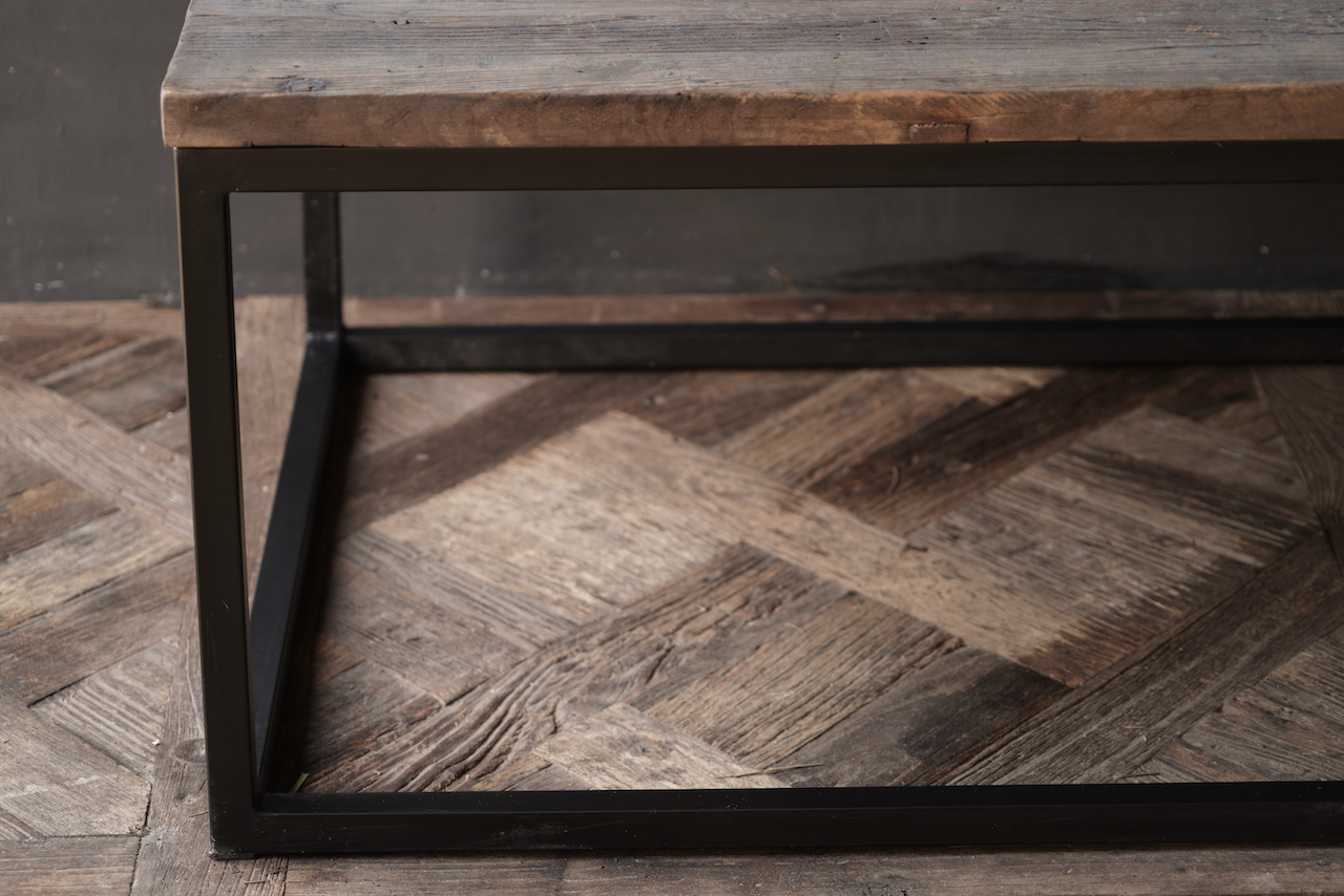 square coffee table made of old wood-4
