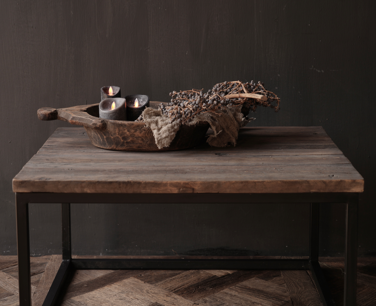 square coffee table made of old wood-2